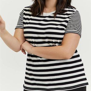 Torrid 1X 3X Tee T-Shirt Stripe Black/White Crew